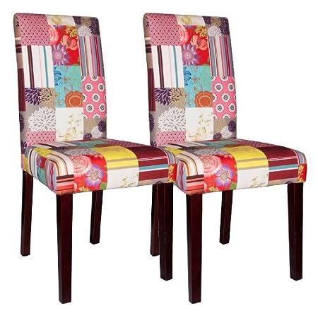 SalesFever Santo silla de conjunto de 2 Patchwork de terciopelo