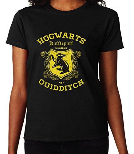 Hogwarts Hufflepuff Quidditch Seeker Harry Potter Awesome Design Women Donna Black T-shirt