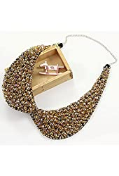 False Collar Crystal Beaded Round Necklace Chain Detachable Color Champagne; Plus a Free Gift Cellphone Anti-dust Plug