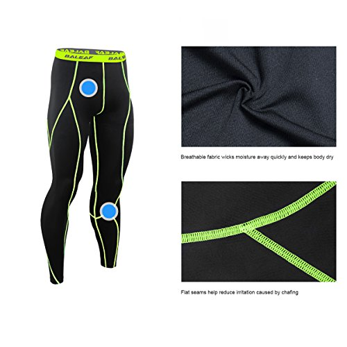Baleaf Men's Running Fitness Workout Compression Base Layer Tights Black Fluorescent Yellow Size XXL