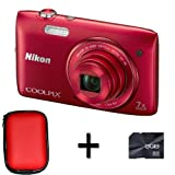 Nikon COOLPIX S3500 Digital Camera - Red + Case and 8GB Memory Card (20.1MP, 7x Optical Zoom) 2.7 inch LCD