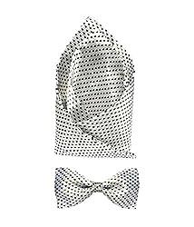 Combo of Vibhavari Men's White Bow Tie & Pocket Square