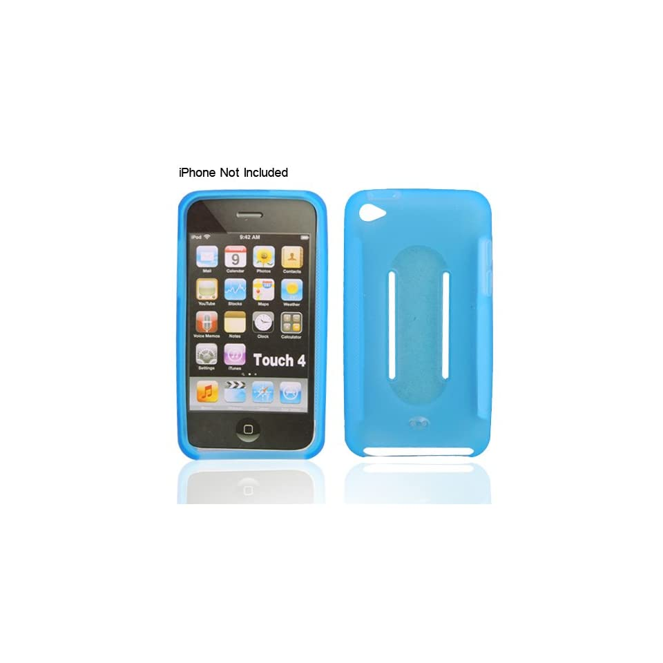 Light Blue Silicon Skin Case for iPod Touch 4g 4th Generation with Belt Loop