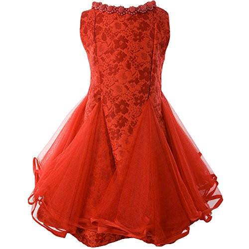 Ipuang Little Lovely Lace Flower Girl Dress for Special Occasion 8 Red