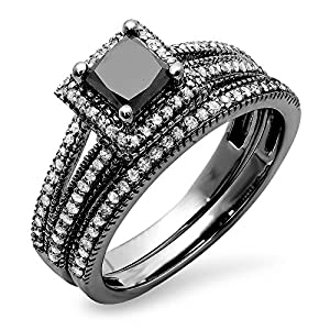 1.35 Carat (ctw) Black Rhodium Plated 14K White Gold Princess & Round Diamond Halo Ring Set (Size 7)