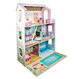 Bopster Luxury Wooden Kids Dolls House with Furniture