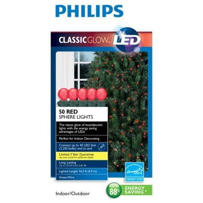 Philips Red Sphere 50 Ct. Led String Lights - Green Wire
