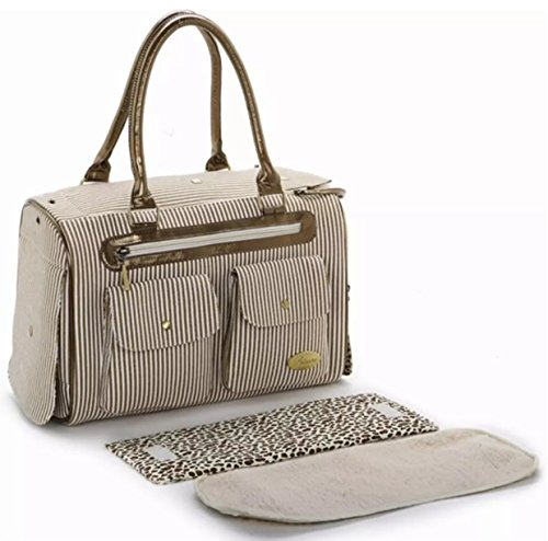 HOODDEAL Fashion Dog Carrier Handbag Purse Tote Bag Pet Cat Dog Hiking Backpack + Dog Bandana (Khaki)