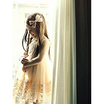Victoria Little Girl Vintage Look Lace Tulle Dress Tan