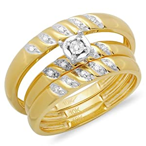 0.07 Carat (ctw) 10K Yellow Gold Round White Diamond Men & Women's Engagement Ring Trio Bridal Set by DazzlingRock