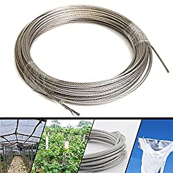 LussoLiv 304 Stainless Steel 3mm Diameter Cable Wire Clothes Cable Line Wire Rope Length 30M