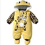Cartoon Animal Style Cotton-padded Baby's Romper Baby Ladybug and Cows Wram Body Suit Autumn and Winter Clothing (7-12 Months, Yellow)