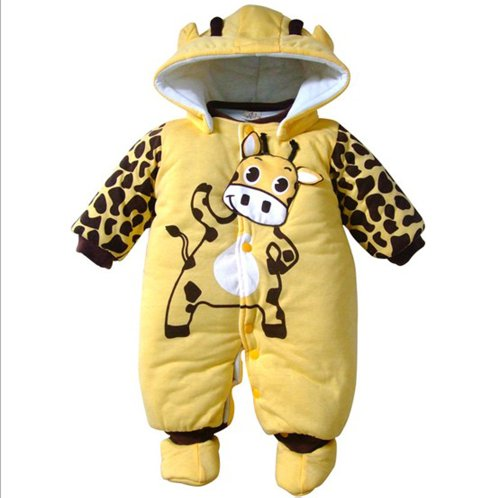 Cartoon Animal Style Cotton-padded Baby's Romper Baby Ladybug and Cows Wram Body Suit Autumn and Winter Clothing (13-18 Months, Yellow)