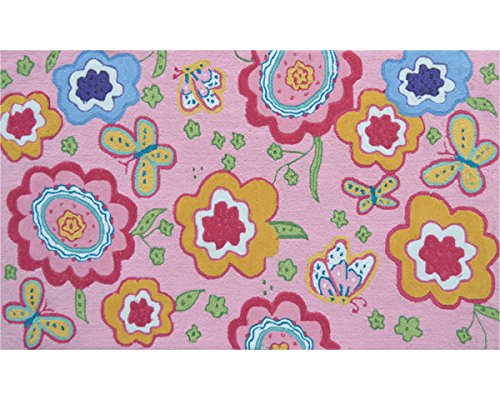 The Rug Market 71177D Handmade Rugs, Pink Spring Time, Multicolor