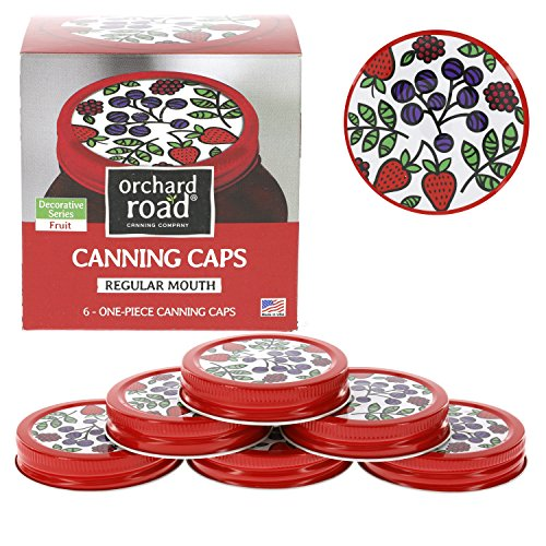 Mason Jar Lids - Decorative Canning Caps Fit Regular Mouth Mason Jars - Fruit Design - Pack of 6