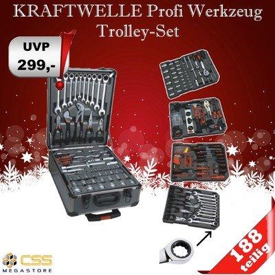 188-tlg-Werzeugkoffer-Trolley-Chrom-Vanadium-KRAFTWELLE-Werkzeug-Ratschen-Neu