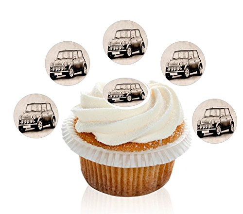24-pre-cut-mini-cooper-car-edible-premium-disc-wafer-decorations-cupcake-toppers-by-kreative-cakes