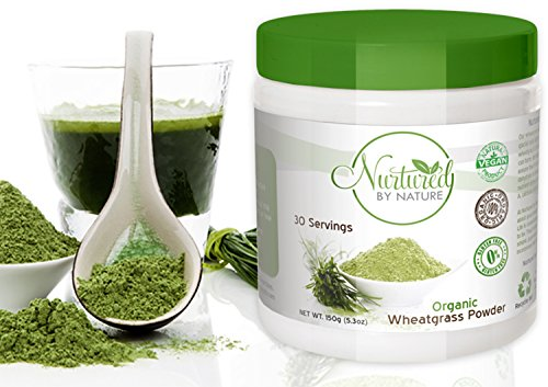 Premium Organic Wheatgrass Powder, USA Grown, Pure Whole Leaf Superfood, Non-GMO, No Gluten Soy or Dairy, Vegan, by Nurtured by Nature, 30 Servings (Wheatgrass Organic Powder compare prices)