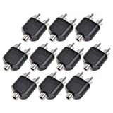 10pcs RCA Female Jack to 2 RCA Male Av Audio Y Splitter Plug Converter Adapter