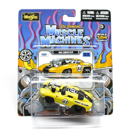 1963 Corvette (Yellow) * The Original Muscle Machines * Series 12 Maisto 1:64 Scale Die-Cast Vehicle Collection - 1