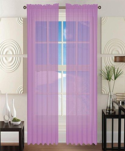 2-Piece Solid Lavender Purple Sheer Window