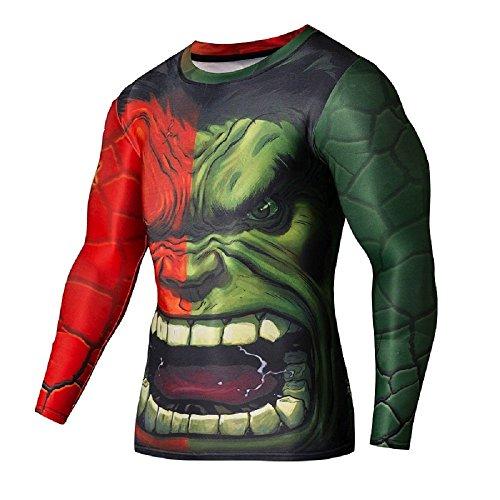 Madhero da uomo The Avengers 3d aderenti a maniche lunghe T-Shirt The hulk Formato cinese XXL(chest 91,44 cm-129,54 cm)