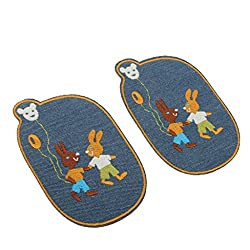 Phenovo Paire of Stylish Elbow Knee Patches Repair Sewing Applique Crafts Rabbit