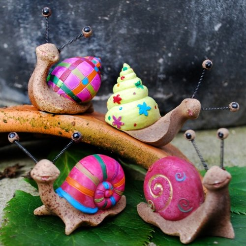 Set Of Four Bright Coloured Resin Snail Garden Ornaments