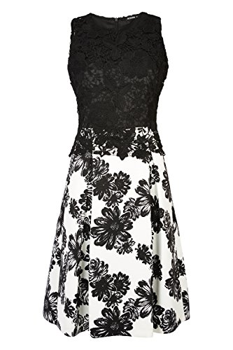 Roman Originals - Women's Fit and Flare Floral Lace Prom Dress - Party Evening Occasion Cocktail Knee Length Skater - Ladies Dresses Black Sizes 10-20