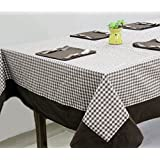 AURAVE Brown Check Cotton Table Cover With Napkins (8 Seater)