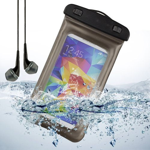Waterproof Pouch Case Cover For Samsung Galaxy S5 / S4 , Htc One M8 , Nokia Lumia , Moto X / Nexus 5 + White Vangoddy Headphones With Mic (Gray)
