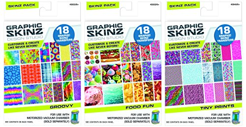 Graphic Skinz Design Studio Skinz Bundle for Girls 3 Assorted Packs 18 Transfers per Pack for Use with Motorized Vacuum Chamber (45906AA304-8) - 1