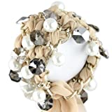 Pearl & Jewel Embellished Butter Gold Colored Chain Link Bracelet - Champagne Woven Ribbon - Adjustable