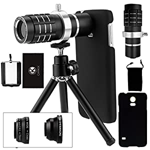Camera Lens Kit for Samsung Galaxy S5 incl. 12x Telephoto Lens / Fisheye Lens / 2in1 Macro and Wide Angle Lens / Tripod / Phone Holder / Holder Ring / Hard Case / Velvet Bag / Cleaning Cloth