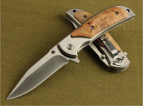 Rescue Hardwood Spring Glass Breaker Folding Pocket Knife Small Size Bln338-6.29''