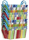 "Bright Cotton Fabric Covered Striped Small Cases with Leatherette Handles 12""x8""x5"" Set of 12"