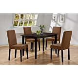 5 PC Espresso Brown 4 Person Table and Chairs Brown Dining Dinette - Espresso Brown and Beige Parson Chair