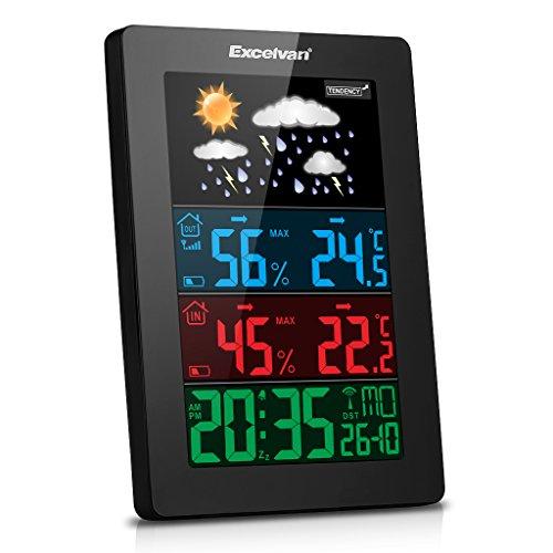 Excelvan Wireless Colore Schermo Stazione Meteo con Radiosveglia, Temperatura, Umidità