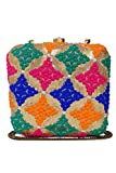 Urban Stitch Handmade Embroidered Multicolor Casual, Party, Ethnic Box Clutch cum Sling Bag
