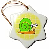 3dRose orn_6290_1 Cute Orange, Yellow and Green Snail Design Porcelain Snowflake Ornament, 3-Inch