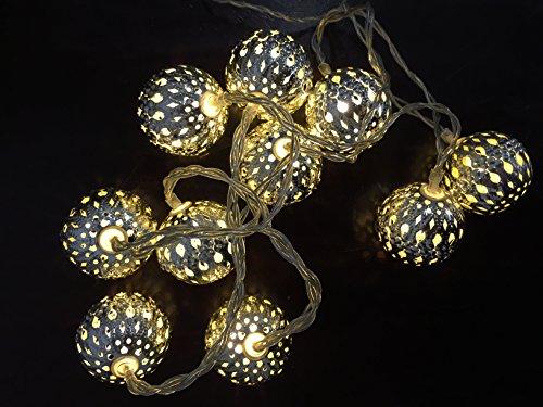 Home stile luci con sfere metalliche 10 LED, lunghezza del cavo 1,5 m, fornitura 30 cm, bianco caldo 670 403