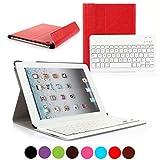 CoastCloud PU Leather Front + Back Case Bluetooth V3 Wireless UK Layout Keyboard For Apple iPad 2/3/4 - Ultra Slim Design Premium Quality Bluetooth Keyboard