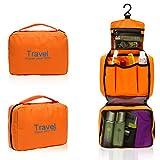 Foxnovo Portable Multi-function Waterproof Hanging Wash Bag Toiletry Bag Travel Cosmetic Bag Pouch Organizer (Orange)