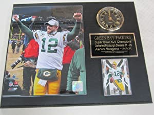 Aaron Rodgers Green Bay Packers Collectors Clock Plaque w 8x10 Photo and Card by J & C Baseball Clubhouse