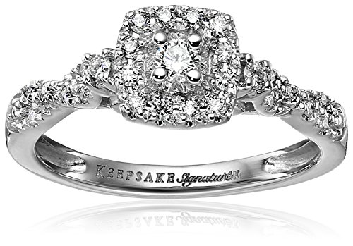 Keepsake Signature 14k White Gold Diamond Halo Vintage Engagement Ring (1/4cttw, H-I Color, I1 Clarity), Size 9
