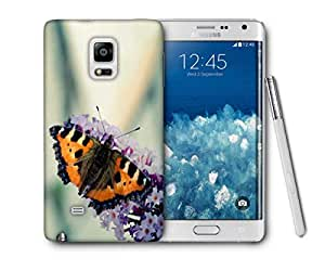 Snoogg Butterfly In White Flower Printed Protective Phone Back Case Cover For Samsung Galaxy NOTE EDGE