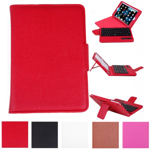 Hde Leather Folding Folio Case Cover & Stand W/ Keyboard For Ipad Mini (Red)