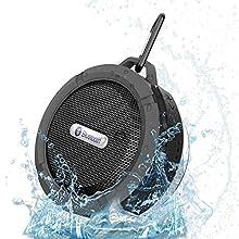 Patuoxun® Wireless Bluetooth 3.0 Outdoor / Doccia Speaker, Vivavoce Portatile con Microfono Integrato, Pulsanti di Controllo e Dedicato Rimovibile Ventosa per Doccia, Bagno, Piscina, Barca, Auto, Spiaggia, & Outdoor Usa Compatibile con Apple Iphone 6,6 Plus , 5s, 5, Galaxy S5, S4, S3, HTC One, Galaxy Note2, 3, Mp3 Player - Nero