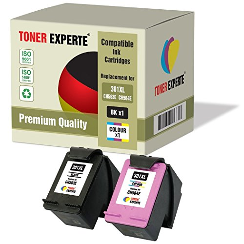 Set of 2 XL TONER EXPERTE® Compatible with HP 301XL Remanufactured Ink Cartridges for HP DeskJet 1000, 1050, 1050A, 1050S, 1055, 2000, 2050, 2050A, 2050S, 2050SE, 2054A, 2510, 2540, 3000, 3010, 3050, 3050A, 3050S, 3050SE, 3050VE, 3052A, 3054A, 3055A