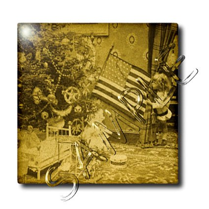 Girl and American Flag Vintage Christmas Antiqued tone – 12 Inch Ceramic Tile